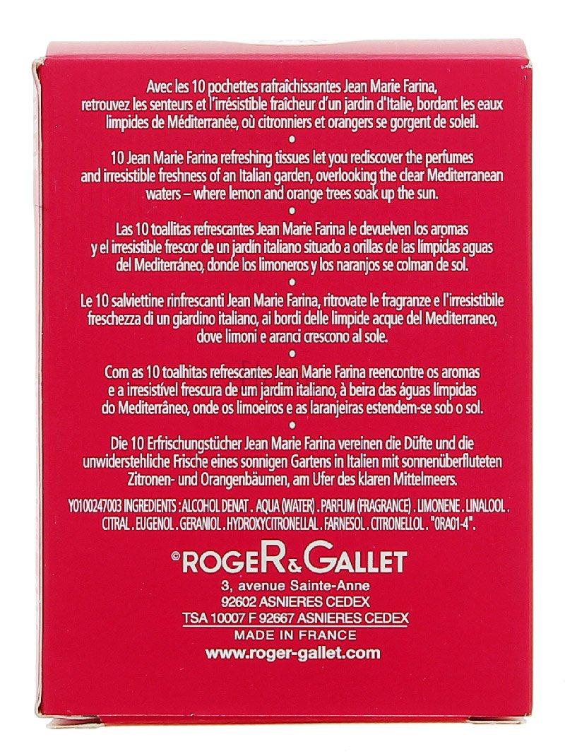 Amazon.com : ROGER GALLET JEAN MARIE FARINA Pochettes Rafraîchissantes (10 pochettes) : Beauty