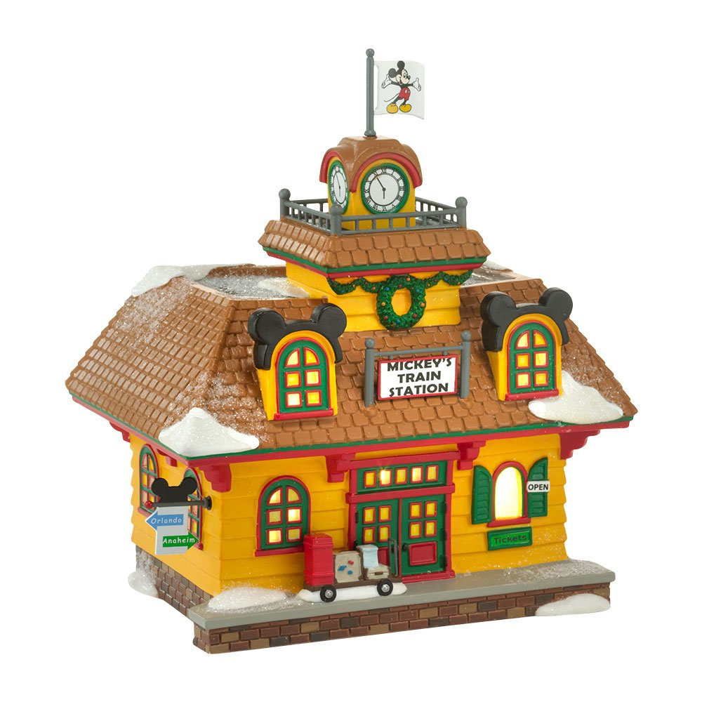 Department 56 Disney Village Mickey's Train Station Lit House, 6.89 inch by Department 56