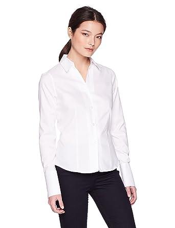 fcf056e5 Calvin Klein Women's Petite Long Sleeve Wrinkle Free Button Down Top,  White, ...