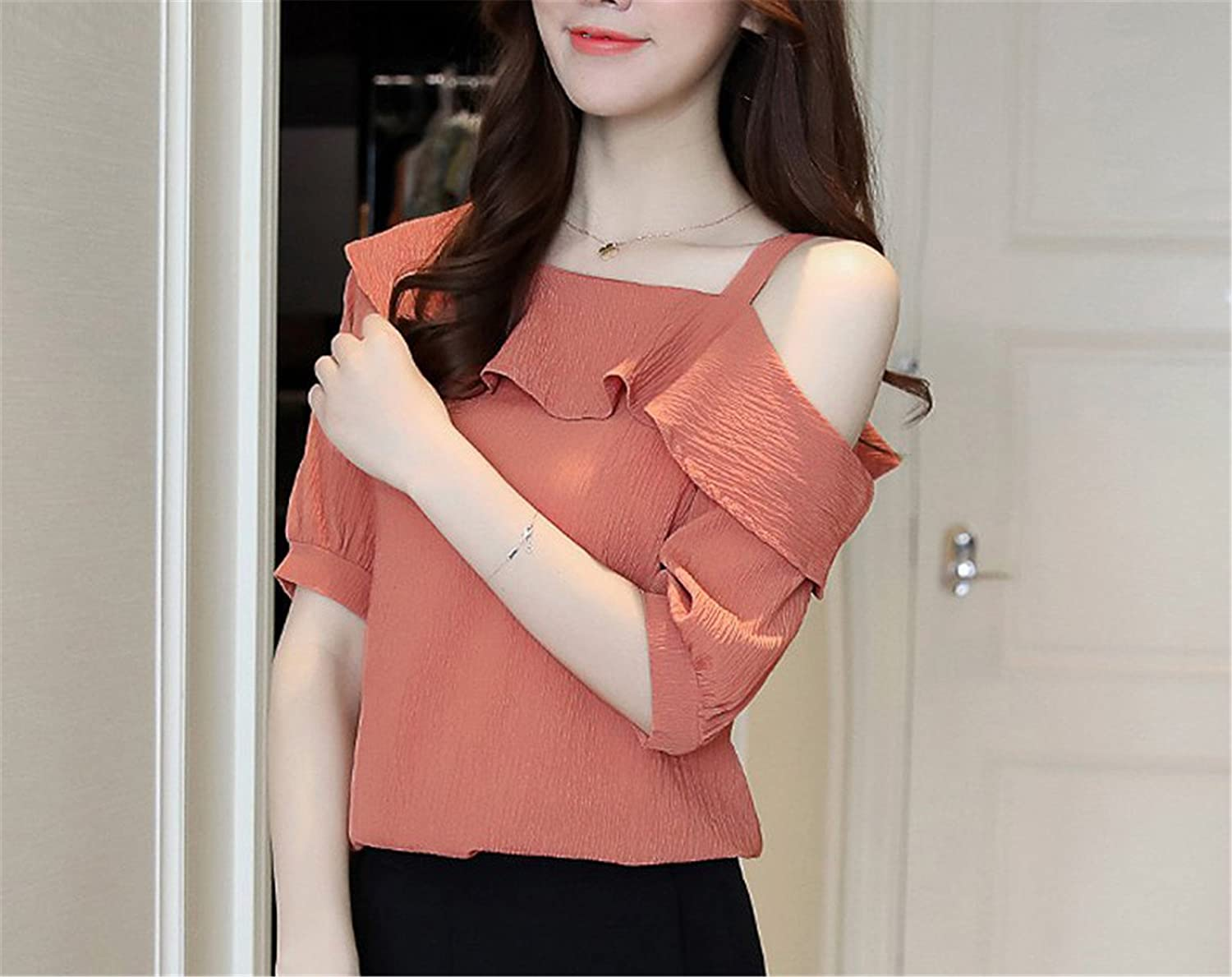 OUXIANGJU Summer Women Fashion Tops Elegant Chiffon One Shoulder Shirts Ruffles Skew Collar Blouses at Amazon Womens Clothing store: