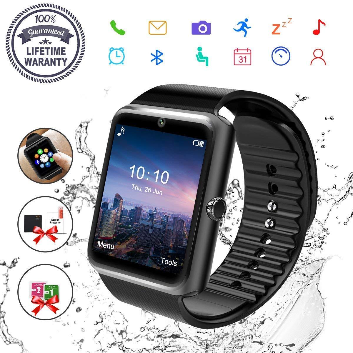Montre Connectée, Bluetooth Montre Smartwatch Sports Smart Watch Con Carte Caméra SIM de Soutien et Carte de TF Pédomètre Sommeil Calories pour Samsung ...