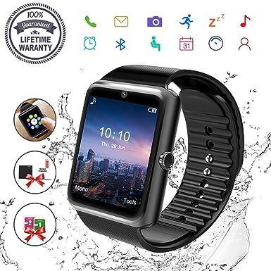 Reloj Inteligente, Hombre Smartwatch Hombre con Cámara Pantalla Táctil Ranura para Tarjeta SIM Teléfonos Inteligentes