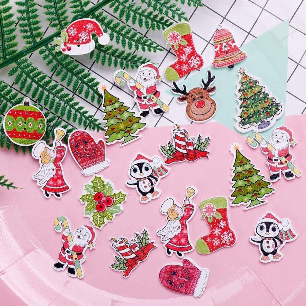 BESTZY 100PCS Christmas Decorative Buttons for Crafts for DIY Sewing Craft Decorative Mixed Pattern