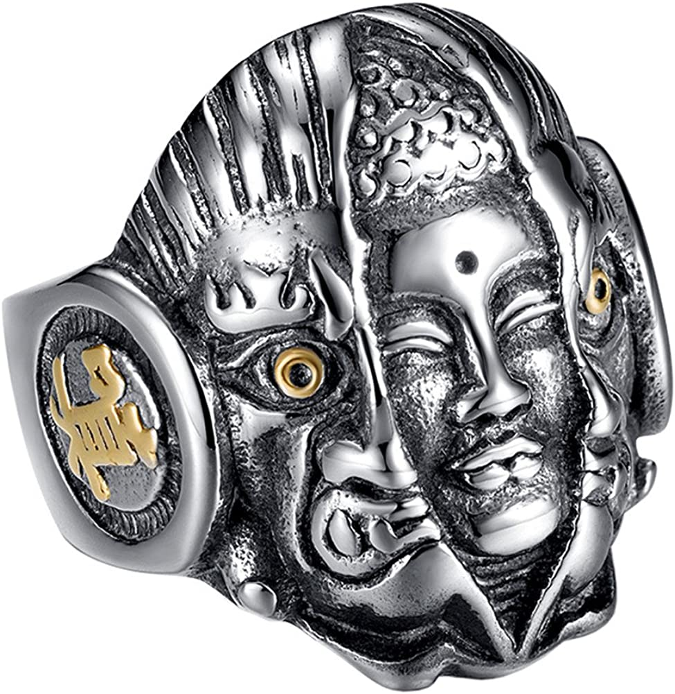 PAURO Men's Stainless Steel Vintage Supernatural Buddha and Devil Ring Engraved Chinese Character