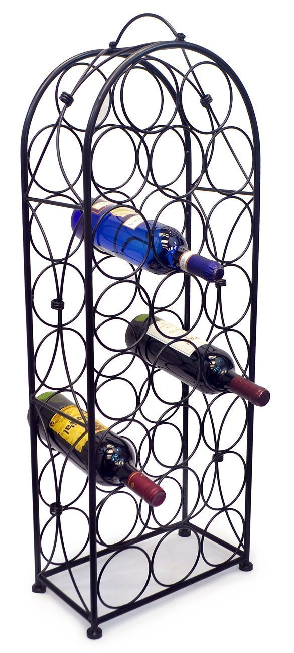 Sorbus Wine Rack Stand Bordeaux Chateau Style - Holds 23 Bottles of Your Favorite Wine - Elegant Looking French Style Wine Rack to Compliment Any Space - No Assembly Required (Black) by Sorbus (Image #4)