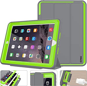 SEYMAC Stock New iPad 9.7 inch 2018/ 2017 Case, Three Layer Smart Magnetic Auto Sleep / Wake Cover Hybrid Leather with Stand Feature for Apple iPad 2017/2018 Release Model a1822/ a1823 (Gray/Green)