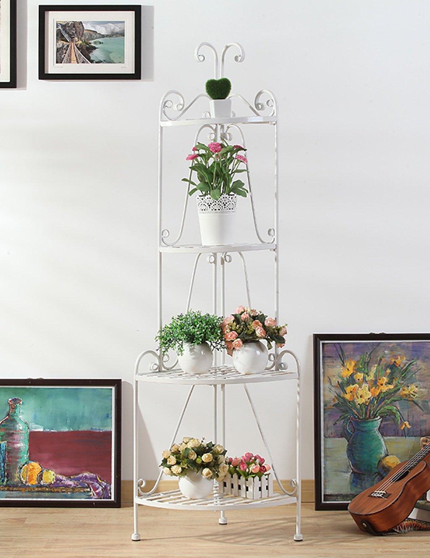 LB huajia ZHANWEI Kreative Einfache Balkon Blume Rack Wohnzimmer Eisen Multilayer Chlorophytum Grüne Rettich Ecke Regalboden Typ Flower Rack (Farbe : B)