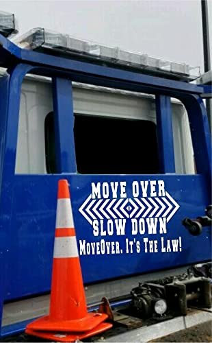 Move over slow down its the law custom rear window tow truck emergency warning vinyl