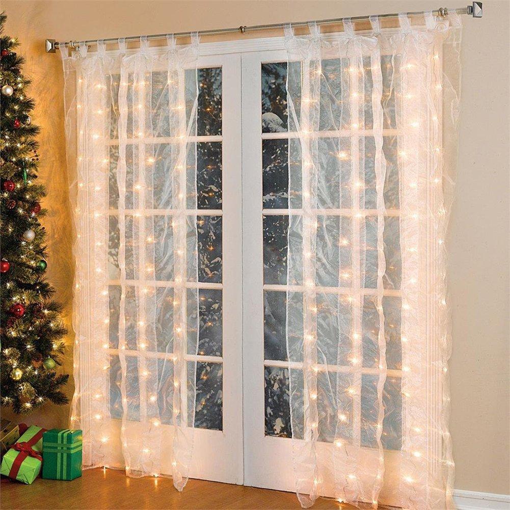 Fenster LED Vorhang Eiszapfen Lichterkette 300 LEDer 3x3m innen ...