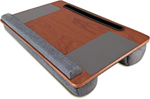 Lap Desk, Kavalan Laptop Desk with Mouse & Wrist Pad, Right & Left Handed Design, Fit up to 17.3 inch Laptop, MacBook, Tablet (Cherry Wood)