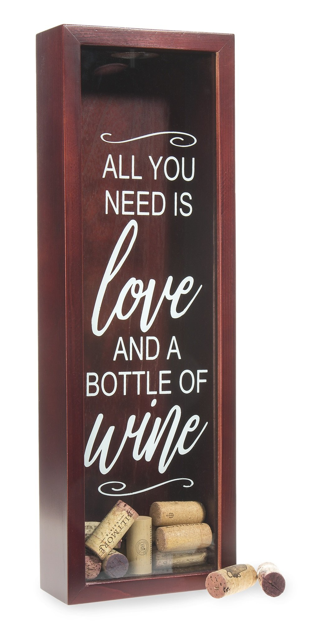 Wine Cork Shadow Box - Holds Over 70 Corks - 18'' x 6'' - Wood With Beautiful Cherry Red Stain - Free Stand or Wall Hanging - ''All You Need is Love and a Bottle of Wine'' - Cork Holder, Wine Gift