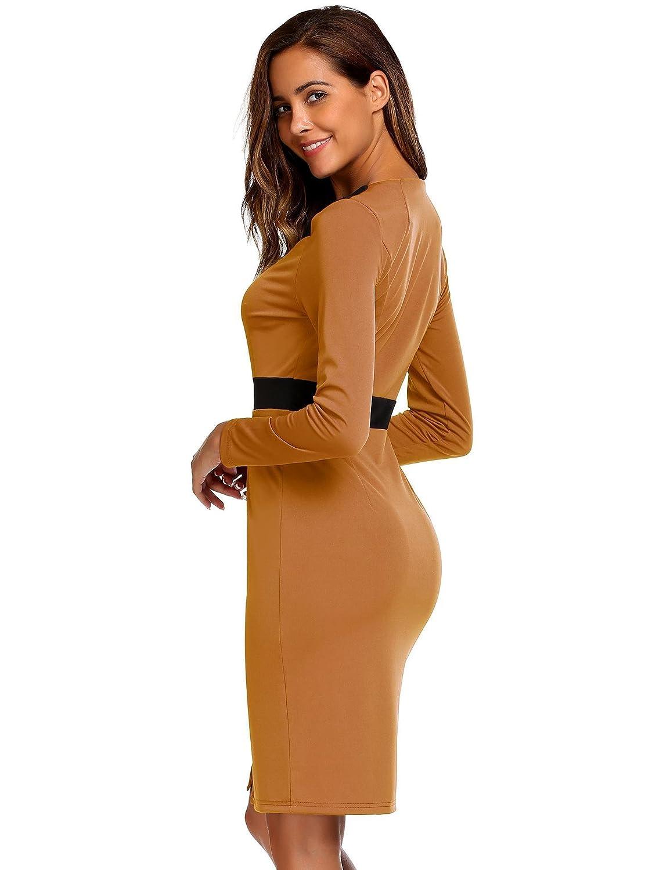 fb86e2d540c3b AL'OFA Women's Long Sleeve Colorblock Slim Bodycon Business Patchwork  Cocktail Pencil Dress