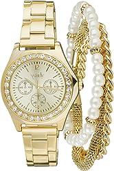 SIX Set aus Goldener Uhr mit Strass & schmalen Armbändern, Perle, Box (388-277)