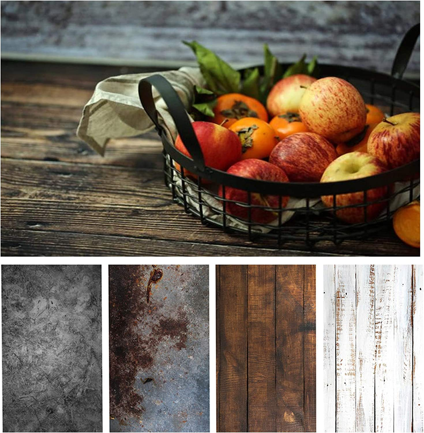 Bcolorpic Wood Photography Backdrop Paper 4 Pack Kit 22x34Inch/ 56x86cm Photo Background Flat Lay Double Sided Cement Wall for Food Product Jewelry Tabletop Pictures Props, 8 Pattern