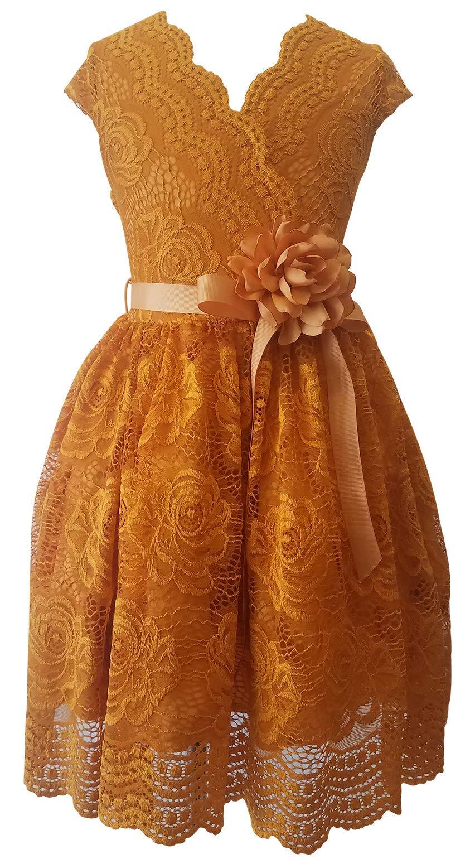 6d1339f881 Galleon - BluNight Collection Big Girl Cap Sleeve V Neck Flower Border  Stretch Lace Corsage Belt Flower Girl Dress (20JK66S) Mustard 10