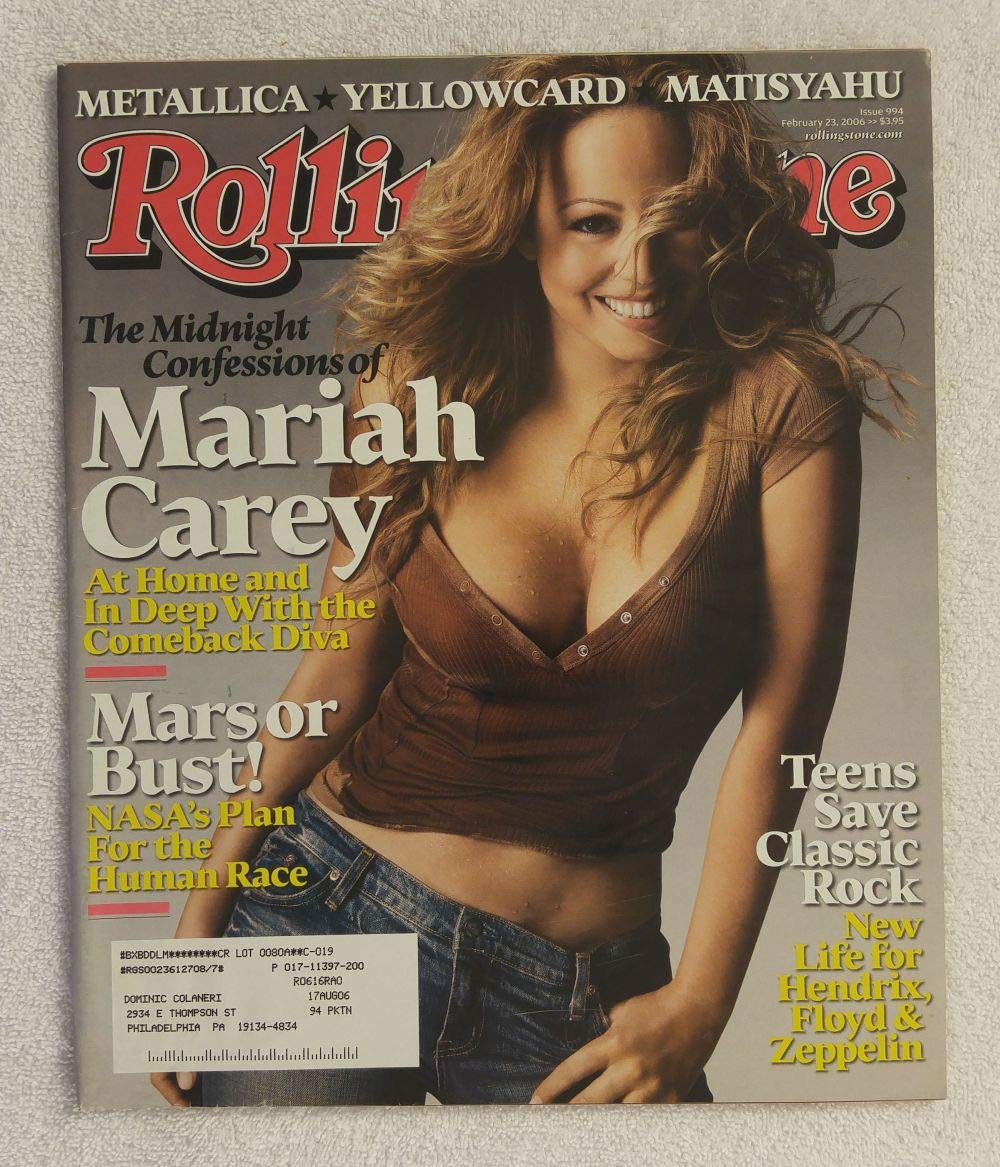 Mariah Carey - Rolling Stone Magazine - #994 - February 23, 2006 - Mars or Bust!: NASA's Plan for The Human Race, Teens bring new life to Classic Rock, Matisyahu articles 2006 - Mars or Bust!: NASA' s Plan for The Human Race