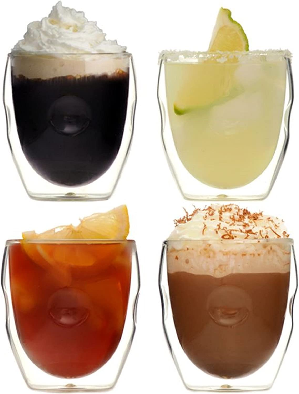 Ozeri Moderna Artisan Series Double Wall Beverage Glasses, 8-Ounce, Set of 4