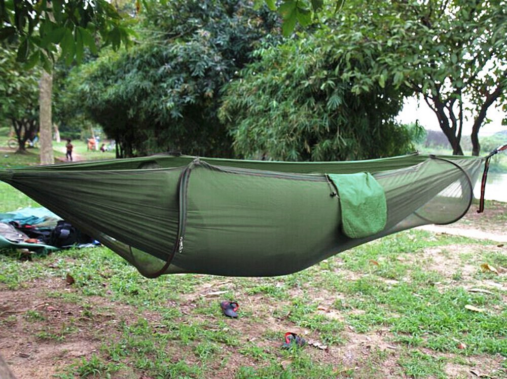 Medium image of amazon    camping hammocktopist hammock tent pop up mosquito   ultralight durable parachute fabric hammock for outdoorbeach hiking traveling