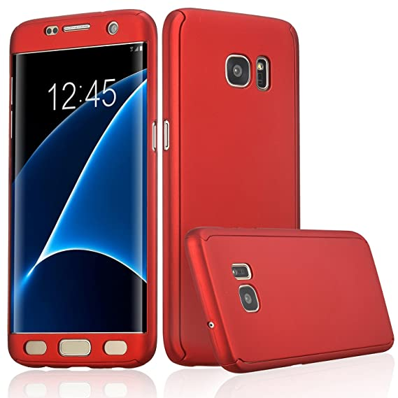 best sneakers 8be76 f4a81 ATOOZ(TM) Galaxy S7 Edge 360 Degree All-Around Full Body Slim Fit  Lightweight Hard Protective Skin Case Cover for Samsung Galaxy S7 Edge (Red)