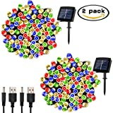 Solar String Lights Outdoor Waterproof, WOOHAHA 72ft 200LED Updated Version 6hrs Timer Function with USB Cable Solar Powered String Lights for Patio Garden Party Pathway (Multi Color 2pcs)