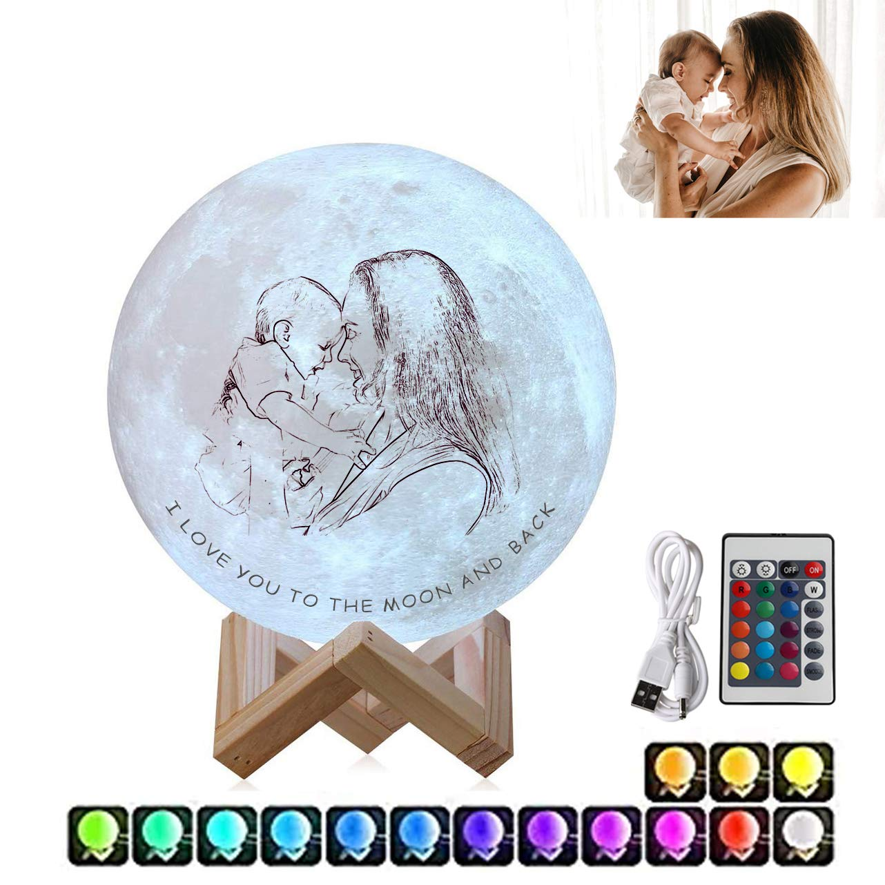 """Personalized Moon Lamp 3D Printed Custom Photo Text Moon Light USB Charging 6/"""""""