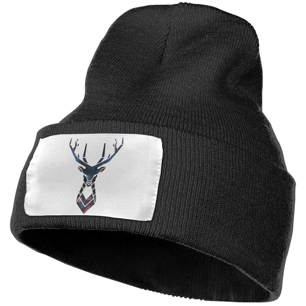 Yubb7E Deer Galaxy Warm Knit Winter Solid Beanie Hat Unisex Skull Cap