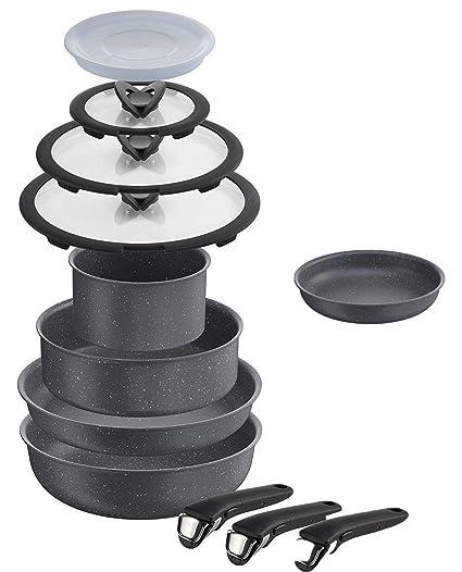 Lagostina Ingenio - Juego 12 Piezas ollas y sartenes de aluminio ...