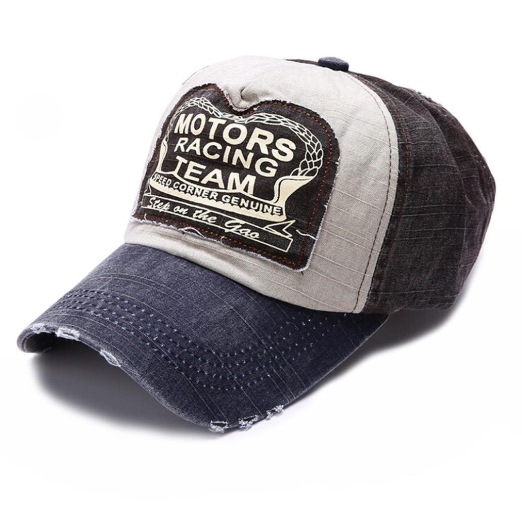 CieKen Fashion Vintage Baseball Cap Letter Print Cotton Multicolor Snapback Trucker Cap Hats (Navy)