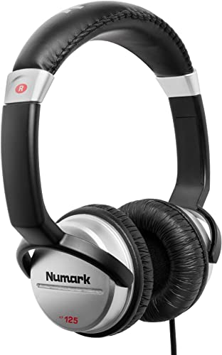 Numark HF125 Ultra-Portable Professional DJ Headphones With 6ft Cable, 40mm Drivers for Extended Response Closed Back Design for Superior Isolation