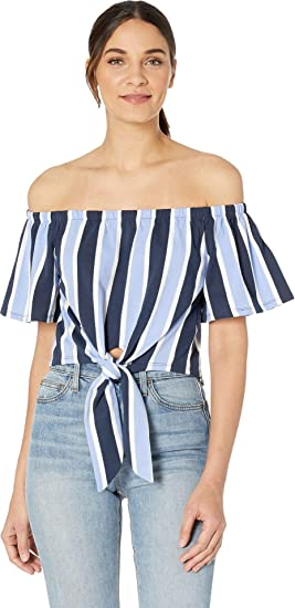 335201c2496 Juicy Couture Women's Striped Tie Front Off The Shoulder Top Regal/Beach  Blue Sunset Small