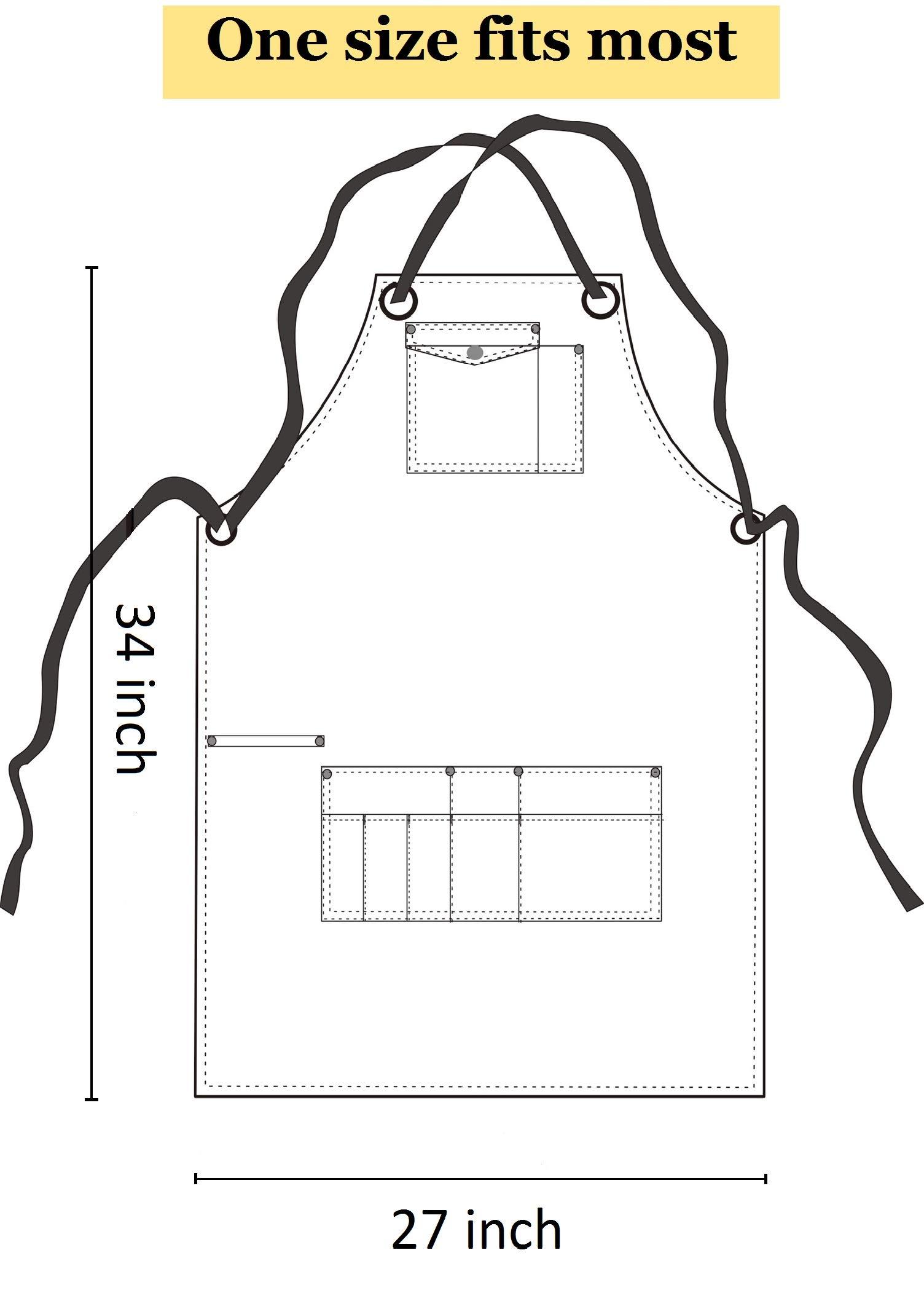 Heavy Duty Denim Jean Shop Work Apron Woodworking Aprons - 10 Tool Pockets | Towel Loop | Cross-back, Adjustable Unisex Utility Bib Apron Fits Men Women, M-XXL by Duo Bao Yu (Image #6)