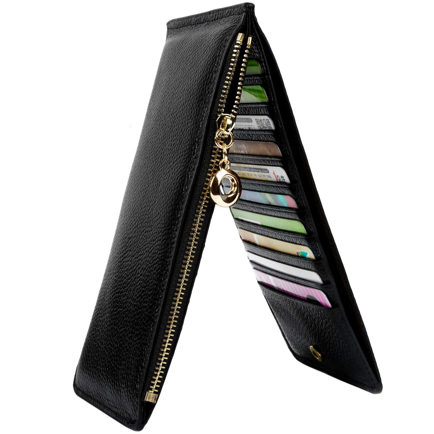 YALUXE Leather Wallet for Women Women's RFID Blocking Genuine Leather Multi Card Organizer Wallet with Zipper Pocket RFID Blocking Black
