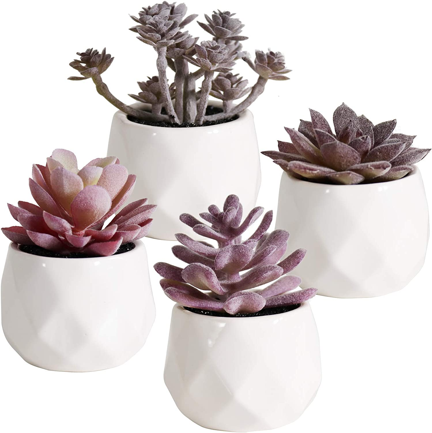 Artificial Plants Desk Fake Succulents Indoor Decor Office Room Decoration Small Tiny Realistic Plants in White Ceramic Potted (Purple-4)