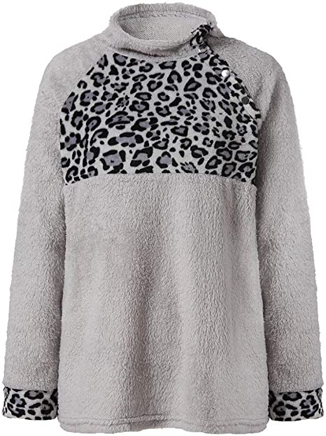 ZJSWCP Sudadera Moda Casual para Mujer Estampado de Leopardo Camisa de Lana Artificial Invierno Parkas Blusa Mujeres Sudadera Harajuku Sudadera Mujer 10: Amazon.es: Deportes y aire libre