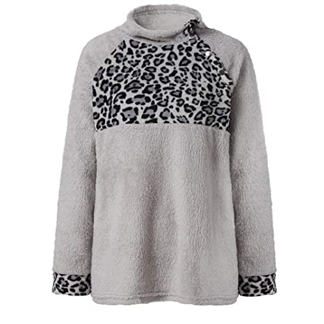 ZJSWCP Sweatshirt Fashion Casual Womens Leopard Print Artificial Wool Shirt Top Winter Parkas Blouse Women Sweatshirt