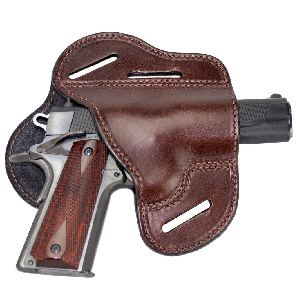 The Ultimate Leather Gun Holster - 3 Slot Pancake Style Belt Holster