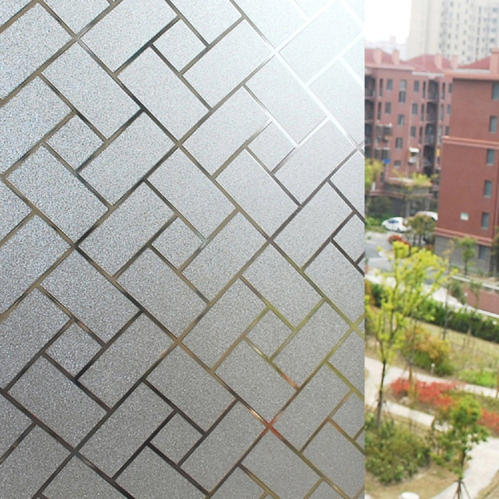 Zanbringe 17.7x78.7 Inches(45x200CM) Non-Adhesive Home & Office Retangle-Squares Static Cling Privacy Window Film