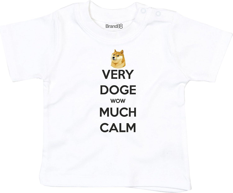 Very Doge Wow Much Calm Camiseta Impresa para Bebés - Blanco/Negro 18-24 Meses: Amazon.es: Ropa y accesorios