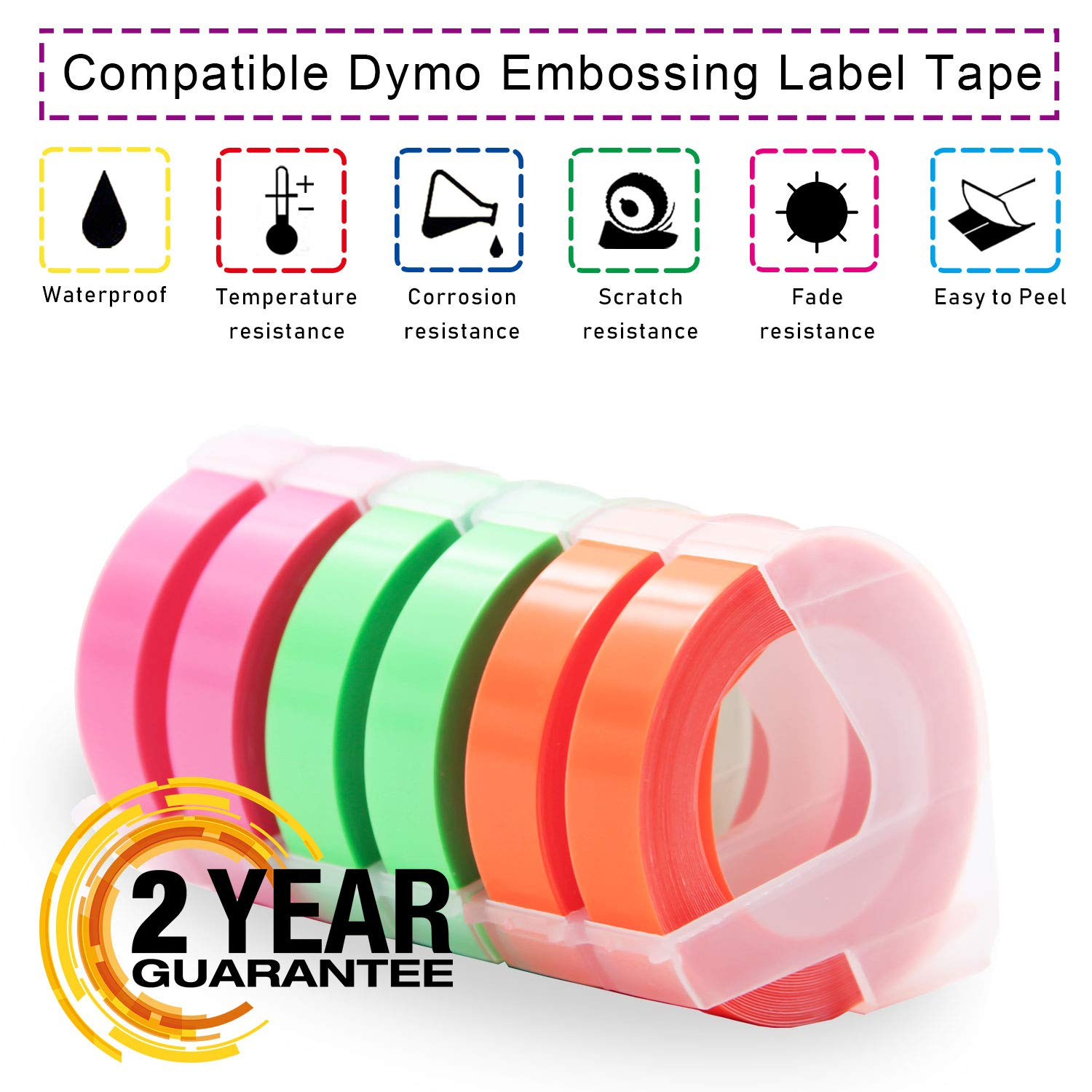 Pristar Compatible Dymo Embossing Tape 3D Plastic Label for DYMO Embossing Label Makers Office Mate II, Organizer Xpress Pro, LabelManager 1610, 3/8'' x 9.8', White Print on Neon Pink, 5 Rolls/Pack by Pristar (Image #6)