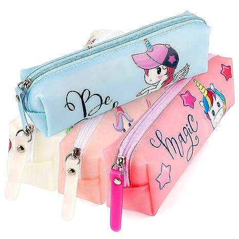 LlorenteRM Estuche de lápices para niñas Jelly Unicorn Pen Bolso de la cremallera Organizador de la moneda Maquillaje Cosmetic Bag Girl School ...