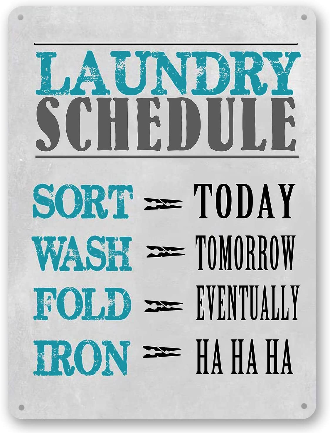 Goutoports Laundry Room Vintage Metal Sign Laundry Schedule Gray Decorative Signs Wash Room Home Decor Art Signs 7.9x11.8 Inch