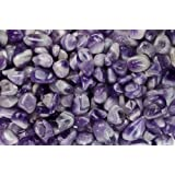 "Fantasia Materials: 1 lb Tumbled Banded Amethyst ""AA"" Grade Stones from India - Large 1"" Bulk Natural Polished Gemstone Supplies for Crafts, Reiki, Wicca and Energy Crystal HealingWholesale Lot"