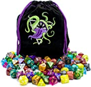 Wiz Dice Bag of Devouring: Collection of 140 Polyhedral Dice in 20 Guaranteed Complete Sets for Tabletop Role-Playing Games