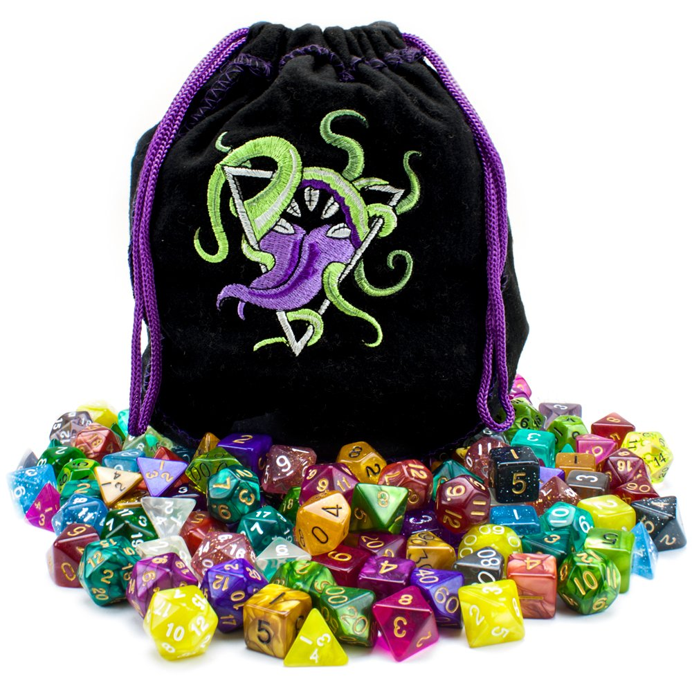 Wiz Dice Bag of Devouring: Collection of 140 Polyhedral Dice in 20 Guaranteed Complete Sets for Tabletop Role-Playing Games - Solids, Translucents, Swirls, Glitters, Alchemic Oddities by Wiz Dice