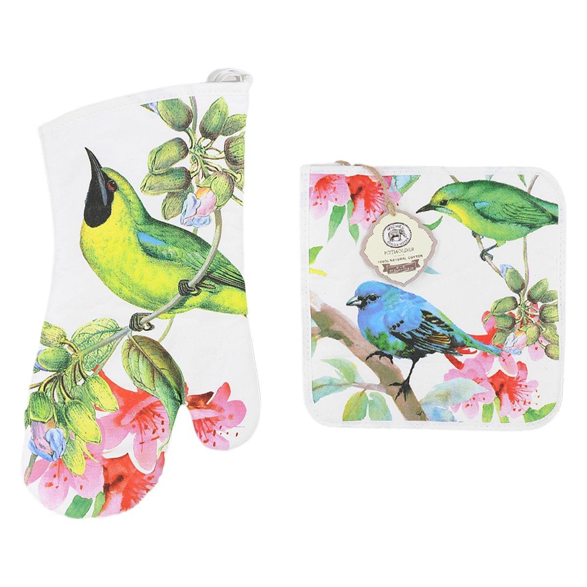 Michel Design Works Padded Cotton Oven Mitt & Cotton Potholder, Bird Song Bundle (2 Pack)