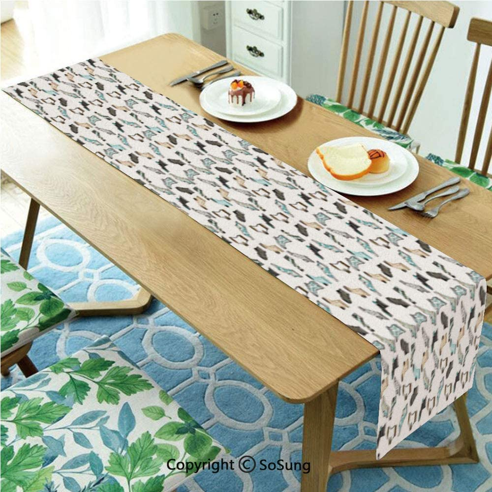 "Cartoon Table runner for Farmhouse Dining Coffee Table Decorative,Messy Teenager Kids Room Rain of Socks Laundry Themed Funny Art 16""x120"" Polyester linen Tea Table Runner,Beige Dark Blue and Aqua Blu"