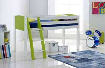 Scallywag Kids Cabin Mid Sleeper Bed Shorty Narrow Curved Ladder