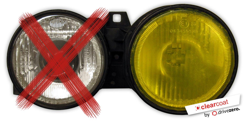 .drivezero. Clearcoat Glasschutzfolie 20 x 60 cm, fü r Glas- und Kunststoff-Scheinwerfer, Farbe: gelb transparent Drive Zero