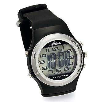 Atlanta Reloj de pulsera parlante LCD analógico digital negro hombre - 9281: Amazon.es: Relojes