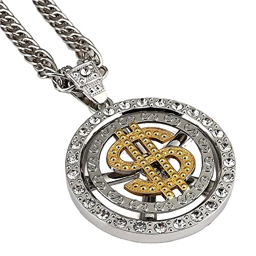 18 K Placcato Oro americani hip-hop Rapper uomini donne dollaro denaro  Ciondolo Collana 80 CM catena cubana Jewelry  Amazon.it  Gioielli fa9b26d0fd84